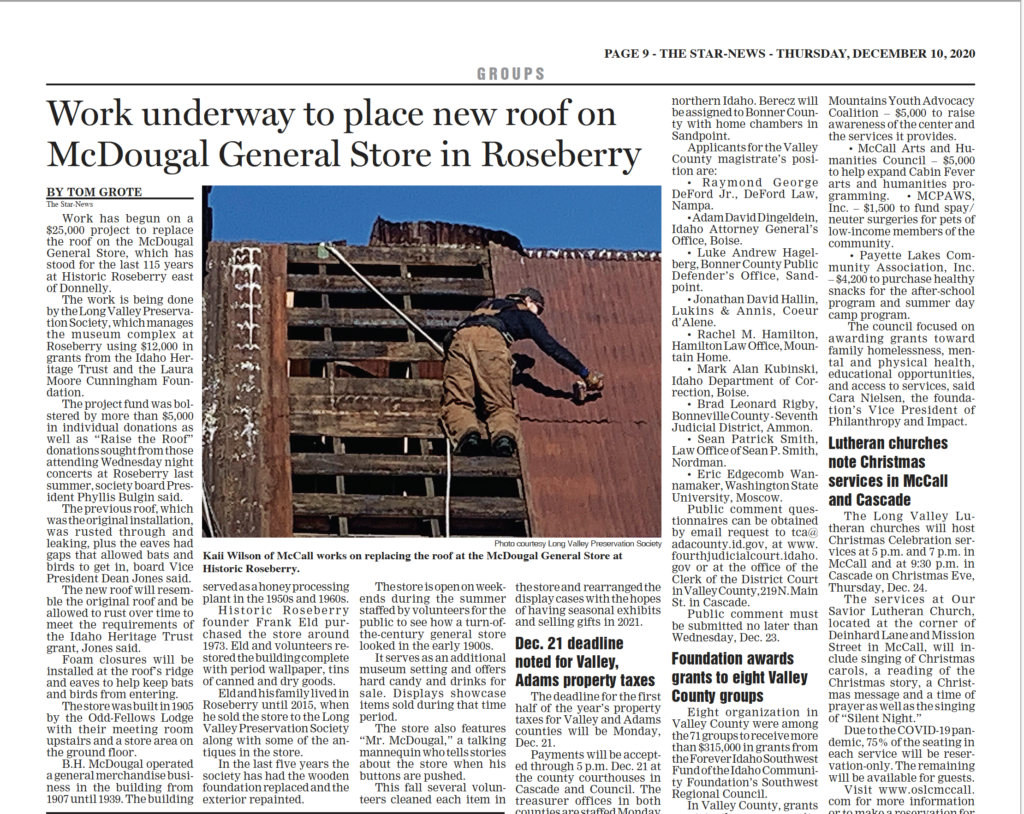 work underway to place new roof on McDougal General Store in Roseberry